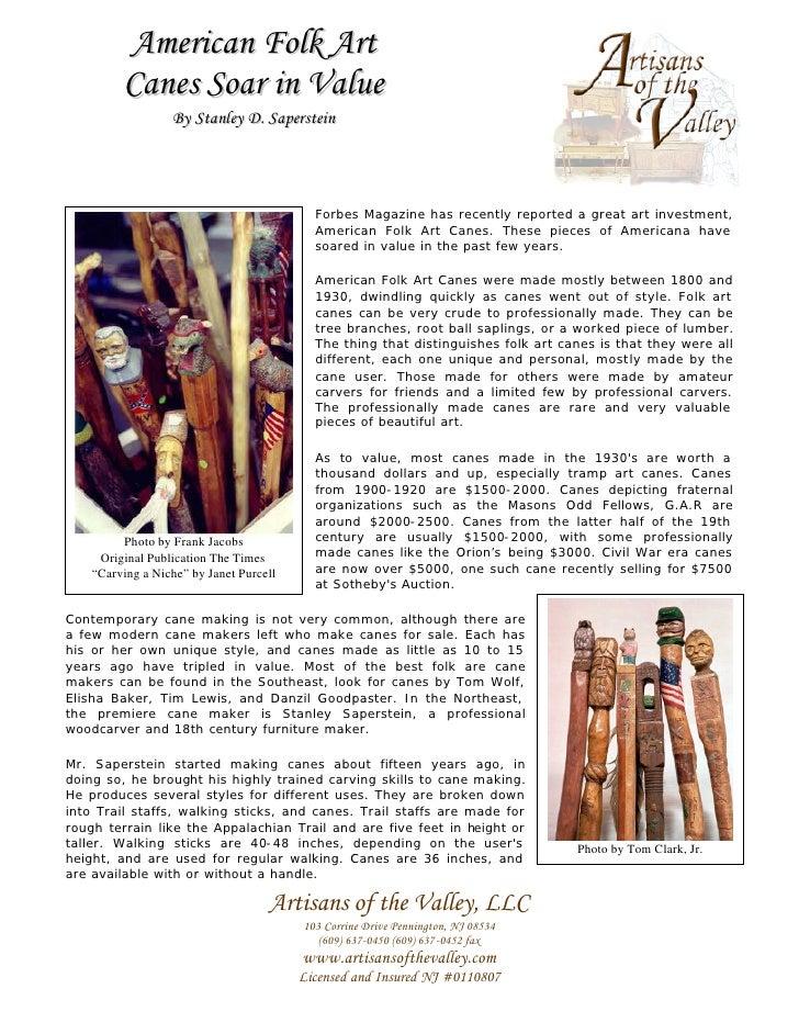American Folk Art          Canes Soar in Value                   By Stanley D. Saperstein                                 ...