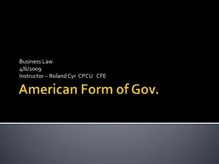 American Form Of Gov