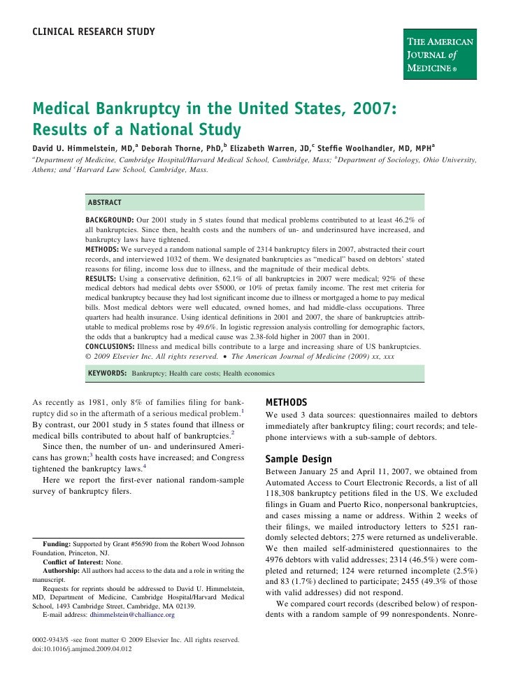 CLINICAL RESEARCH STUDY     Medical Bankruptcy in the United States, 2007: Results of a National Study David U. Himmelstei...