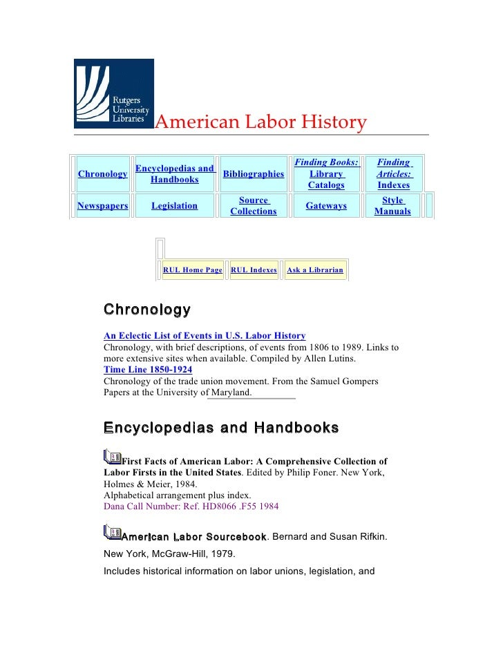 American Labor History                                                    Finding Books:      Finding             Encyclop...