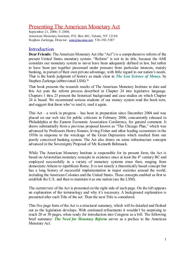 Presenting The American Monetary Act September 21, 2006; © 2006. American Monetary Institute, P.O. Box 601, Valatie, NY 12...