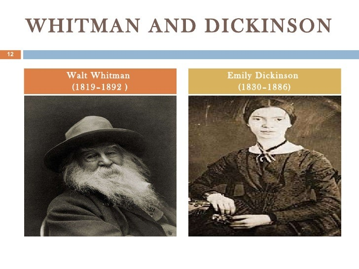 an analysis of walt whitmans and emily dickinsons poems with similar topics Emily dickinson(10 december 1830 – 15 may 1886) emily elizabeth dickinson was an american poet born in amherst, massachusetts, to a successful family with strong community ties, she lived a.