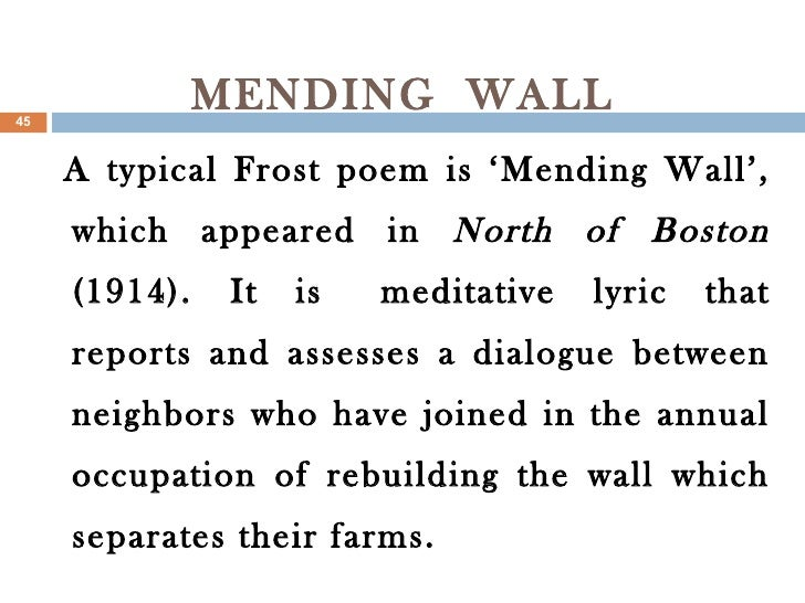 mending wall with line numbers