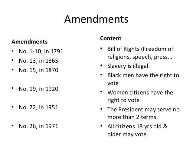 Bill of rights amendments 110