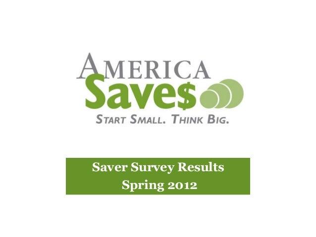 America Saves 2012 Saver Survey