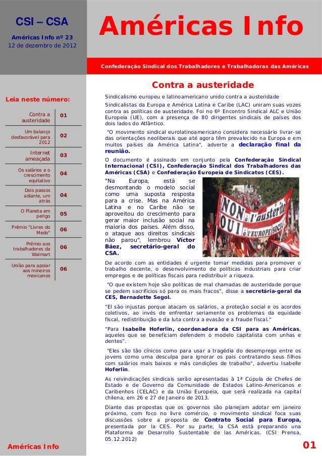 El movimiento s.     CSI – CSA    Américas Info nº 23  12 de dezembro de 2012                             Américas Info   ...