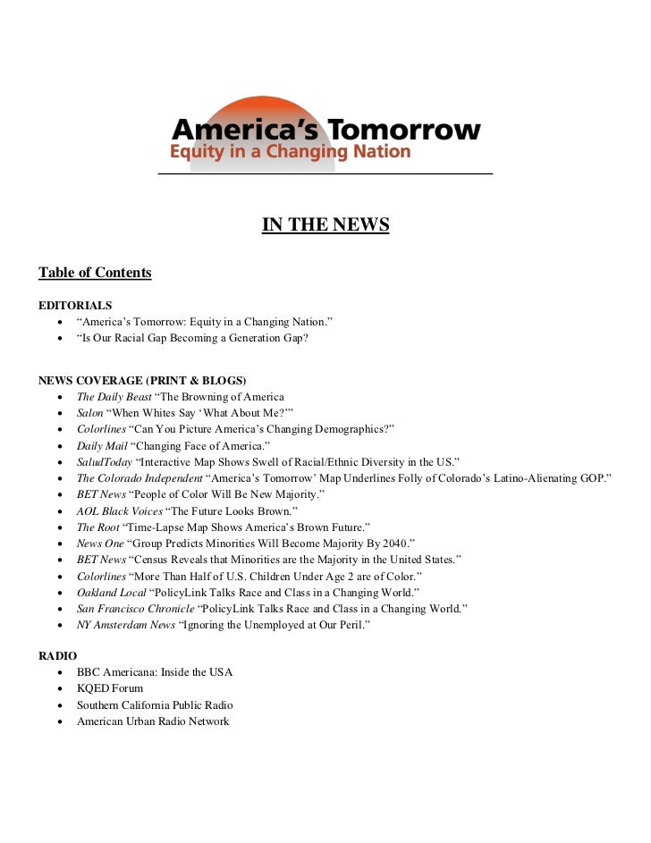 IN THE NEWSTable of ContentsEDITORIALS    ―America's Tomorrow: Equity in a Changing Nation.‖    ―Is Our Racial Gap Becom...