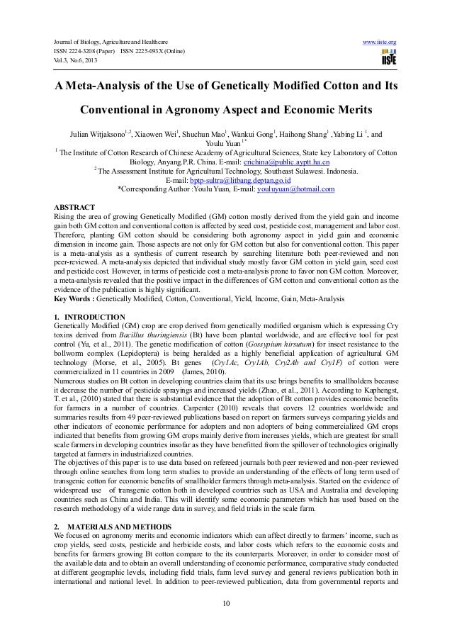 A meta analysis of the use of genetically modified cotton and its conventional in agronomy aspect and economic merits