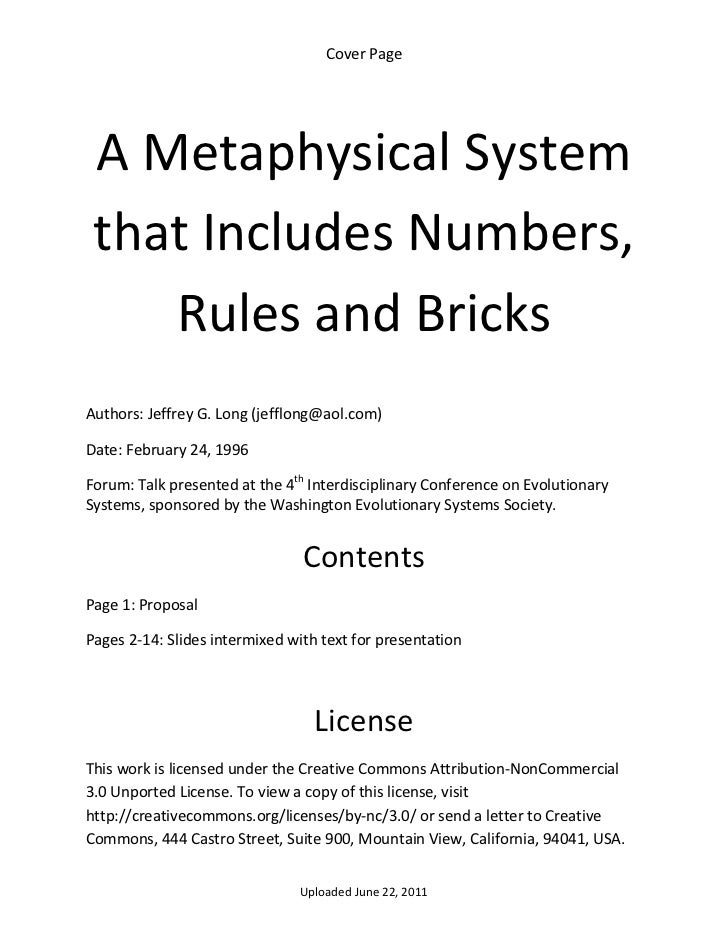 Cover Page      A Metaphysical System     that Includes Numbers,        Rules and Bricks  Authors: Jeffrey G. Long (jefflo...