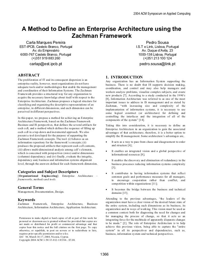 2004 ACM Symposium on Applied Computing   A Method to Define an Enterprise Architecture using the                    Zachm...