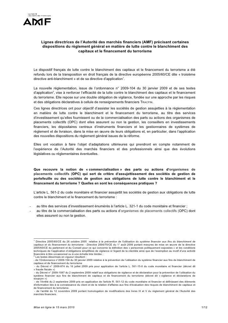 Lignes directrices de l'Autorité des marchés financiers (AMF) précisant certaines           dispositions du règlement géné...