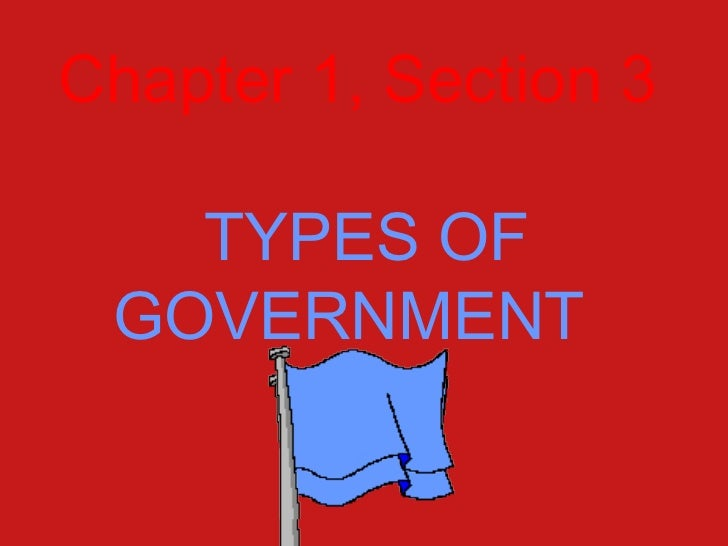 Chapter 1, Section 3   TYPES OF GOVERNMENT