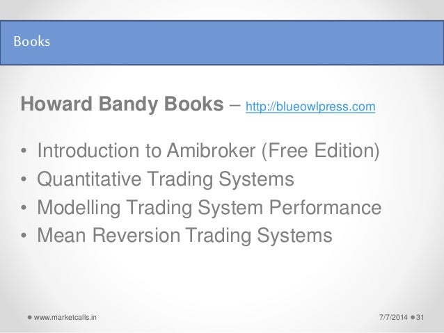 Mean reversion trading systems bandy pdf