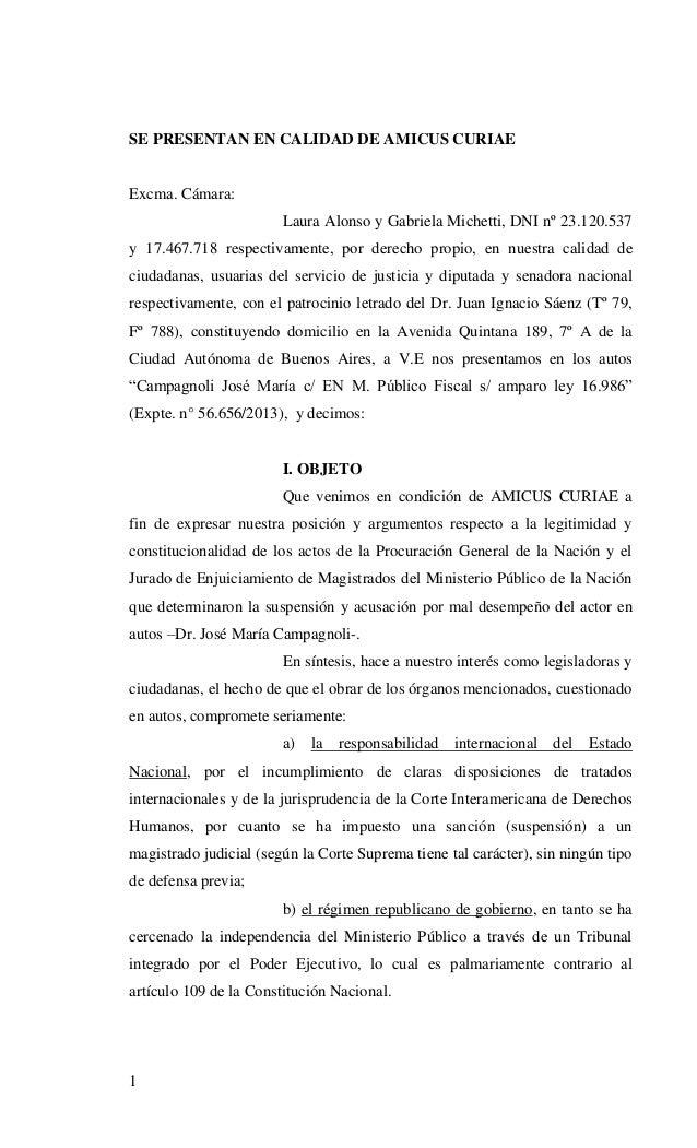 1 SE PRESENTAN EN CALIDAD DE AMICUS CURIAE Excma. Cámara: Laura Alonso y Gabriela Michetti, DNI nº 23.120.537 y 17.467.718...