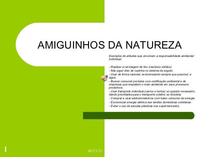 AMIGUINHOS DA NATUREZA Exemplos de atitudes que envolvem a responsabilidade ambiental individual: - Realizar a reciclagem ...