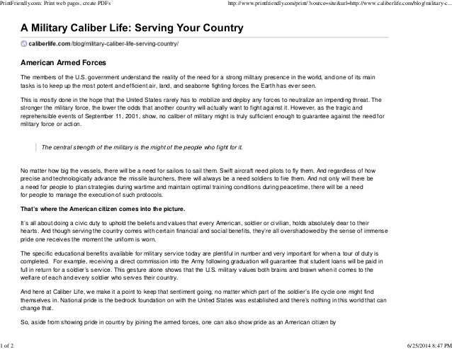 A military caliber life serving your country