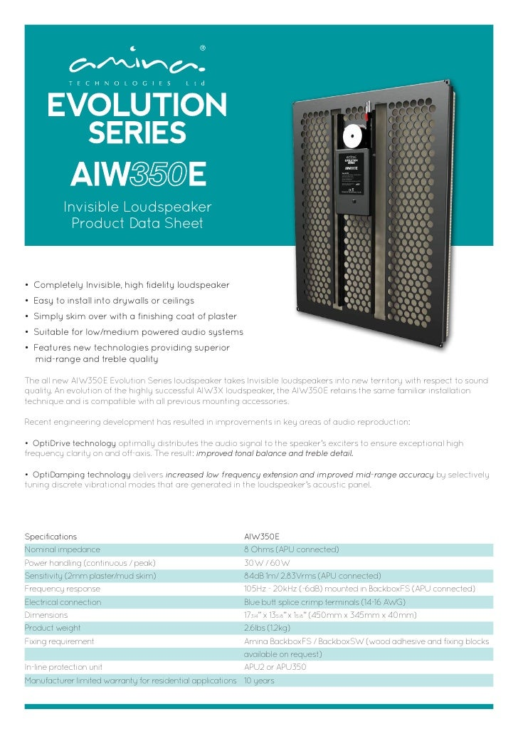 Amina aiw350 e data sheet 2012
