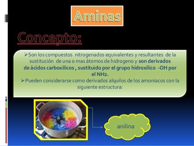Son los compuestos nitrogenados equivalentes y resultantes de lasustitución de una o mas átomos de hidrogeno y son deriva...