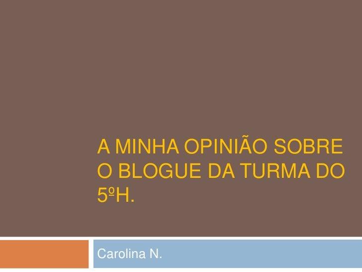 A MINHA OPINIÃO SOBREO BLOGUE DA TURMA DO5ºH.Carolina N.