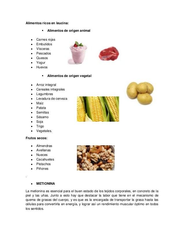 Aminoacidos - Alimentos con levadura de cerveza ...