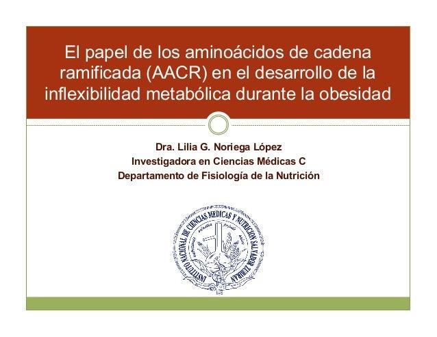 El papel de los aminoácidos de cadena  ramificada (AACR) en el desarrollo de la  inflexibilidad metabólica durante la obes...