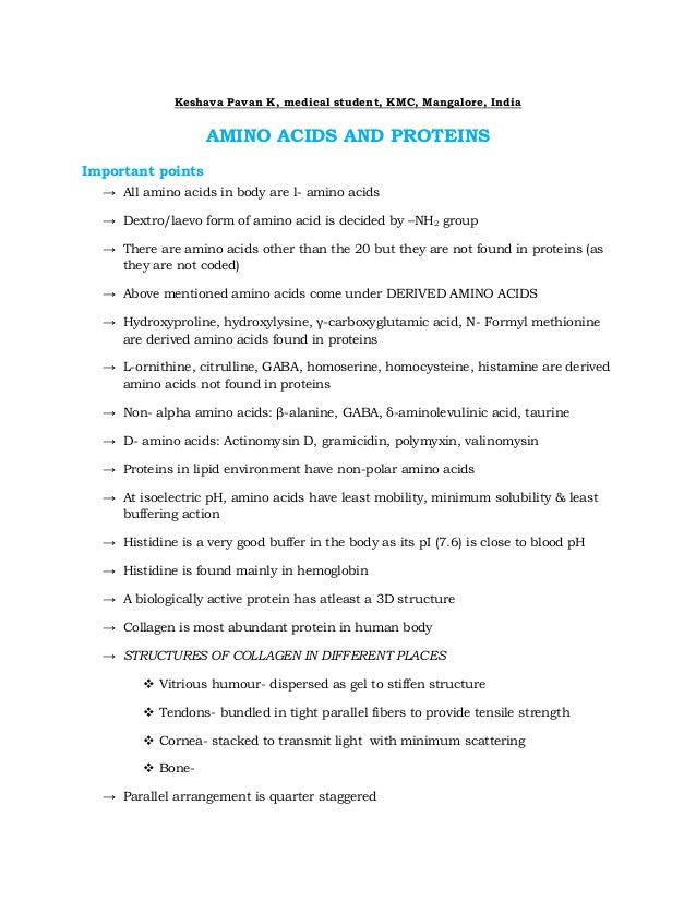 Keshava Pavan K, medical student, KMC, Mangalore, India                   AMINO ACIDS AND PROTEINSImportant points  → All ...