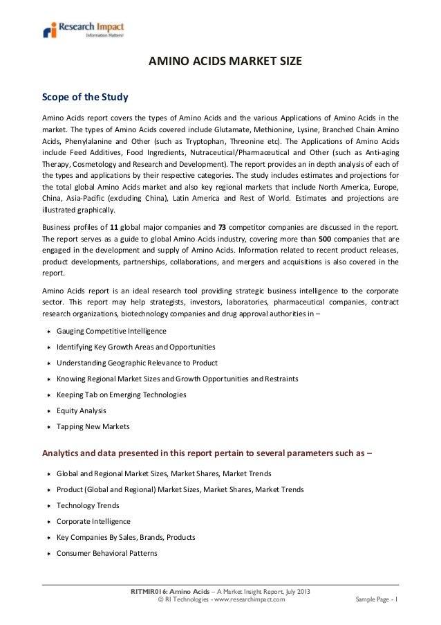 RITMIR016: Amino Acids – A Market Insight Report, July 2013 © RI Technologies - www.researchimpact.com Sample Page - 1 AMI...
