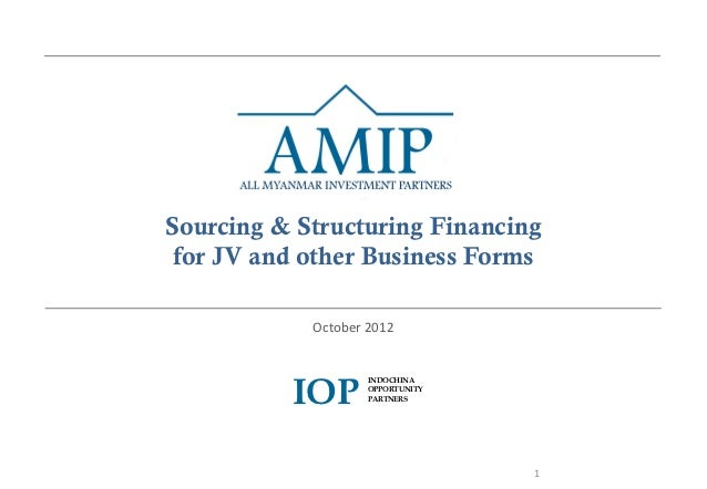 Sourcing & Structuring Financing for JV and other Business Forms