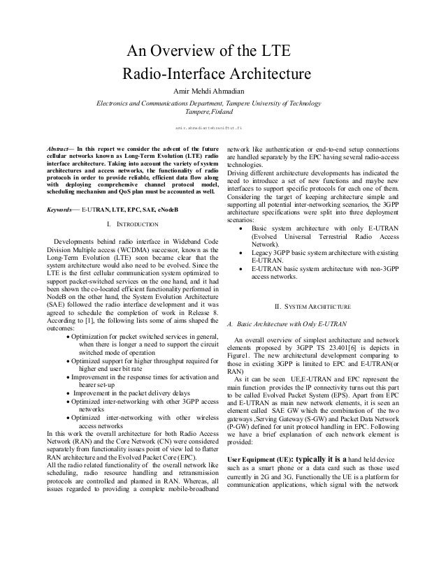 An Overview of the LTE Radio-Interface Architecture Amir Mehdi Ahmadian Electronics and Communications Department, Tampere...