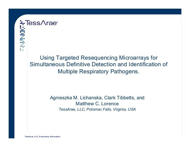 TessArae, LLC, Proprietary Information Using Targeted Resequencing Microarrays for Simultaneous Definitive Detection and I...