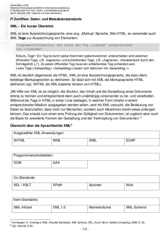 Universität zu KölnHistorisch-Kulturwissenschaftliche InformationsverarbeitungIT-Zertifikat der Phil.-Fak.: Daten- und Met...