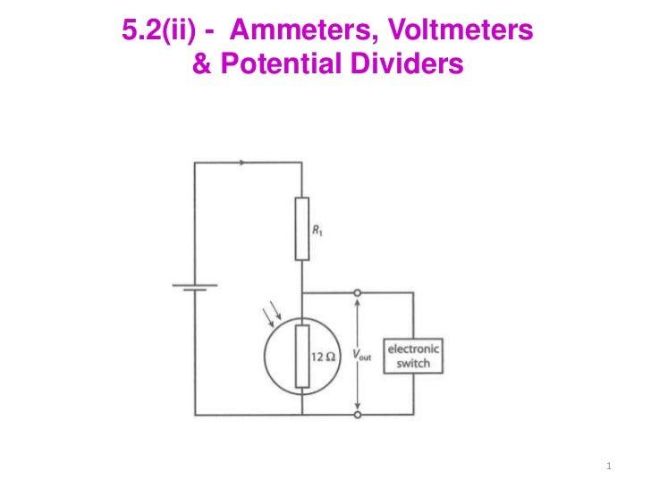 5.2(ii) - Ammeters, Voltmeters      & Potential Dividers                                 1