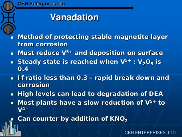 Vanadation  Method of protecting stable magnetite layer from corrosion  Must reduce V5+ and deposition on surface  Stea...