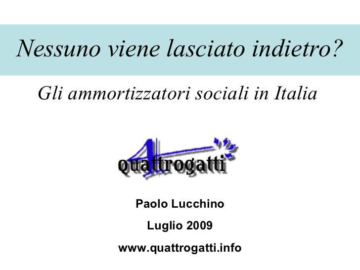 Nessuno viene lasciato indietro? Gli ammortizzatori sociali in Italia