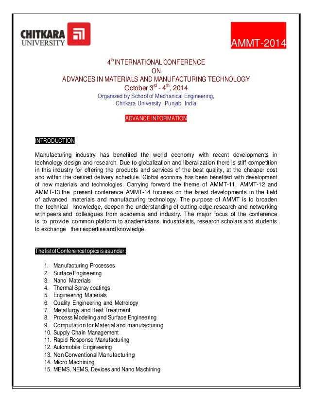4th INTERNATIONAL CONFERENCE ON ADVANCES IN MATERIALS AND MANUFACTURING TECHNOLOGY (AMMT 2014)