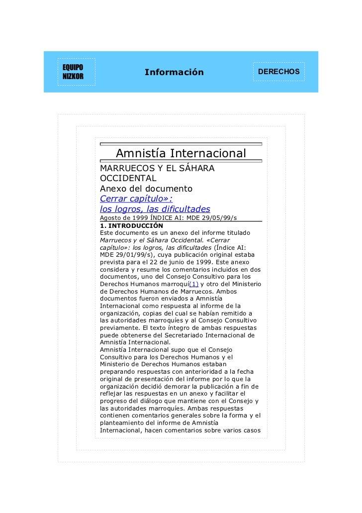 EQUIPONIZKOR                       Información                         DERECHOS              Amnistía Internacional       ...