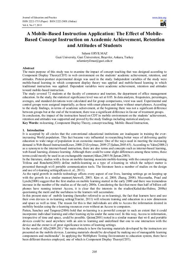 A mobile based instruction application-the effect of mobile-based concept instruction on academic achievement, retention and attitudes of students