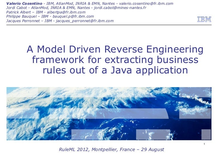 A Model Driven Reverse Engineering framework for extracting business rules out of a Java application