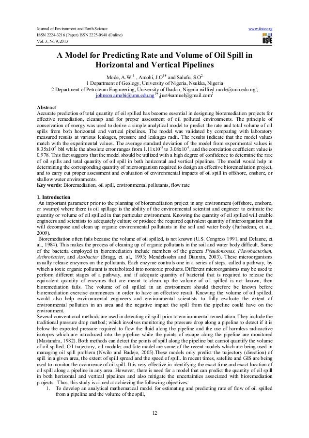 Journal of Environment and Earth Science www.iiste.org ISSN 2224-3216 (Paper) ISSN 2225-0948 (Online) Vol. 3, No.9, 2013 1...