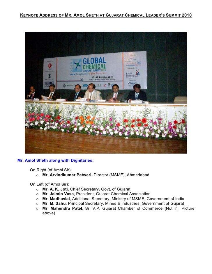 KEYNOTE ADDRESS OF MR. AMOL SHETH AT GUJARAT CHEMICAL LEADER'S SUMMIT 2010Mr. Amol Sheth along with Dignitaries:      On R...