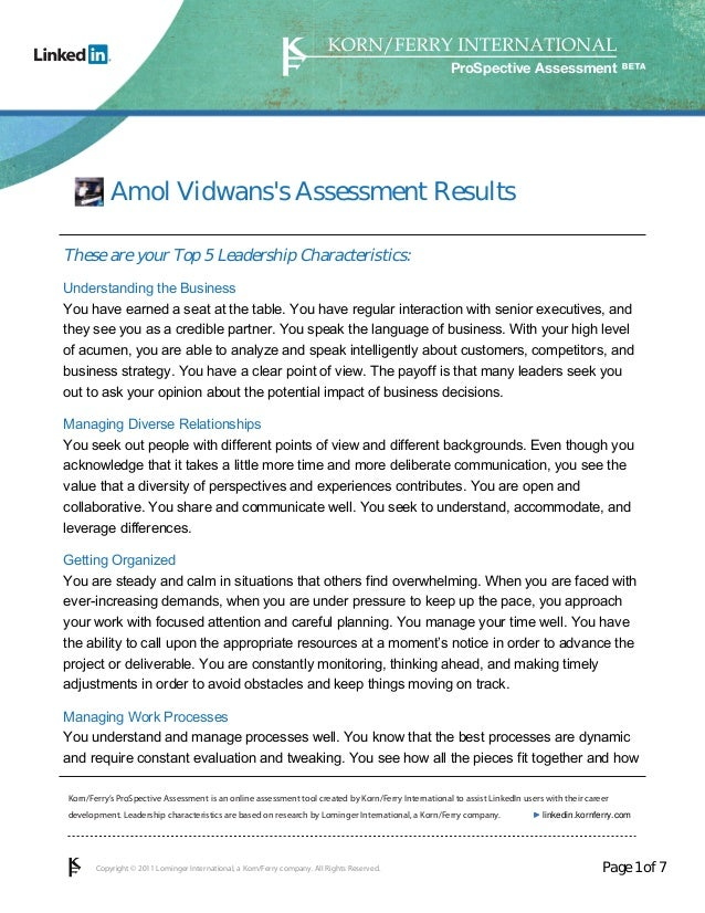 ProSpective Assessment           Amol Vidwanss Assessment ResultsThese are your Top 5 Leadership Characteristics:Understan...