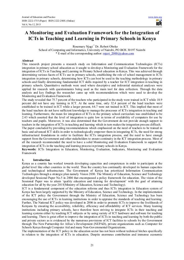 Journal of Education and Practice www.iiste.org ISSN 2222-1735 (Paper) ISSN 2222-288X (Online) Vol.4, No.12, 2013 21 A Mon...