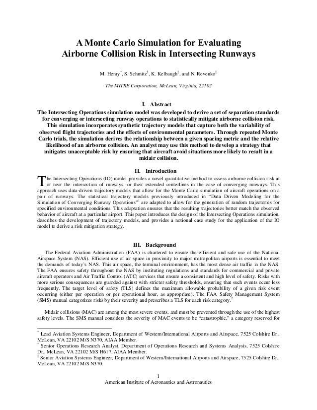 A monte carlo simulation for evaluating airborne collision risk in intersecting runways