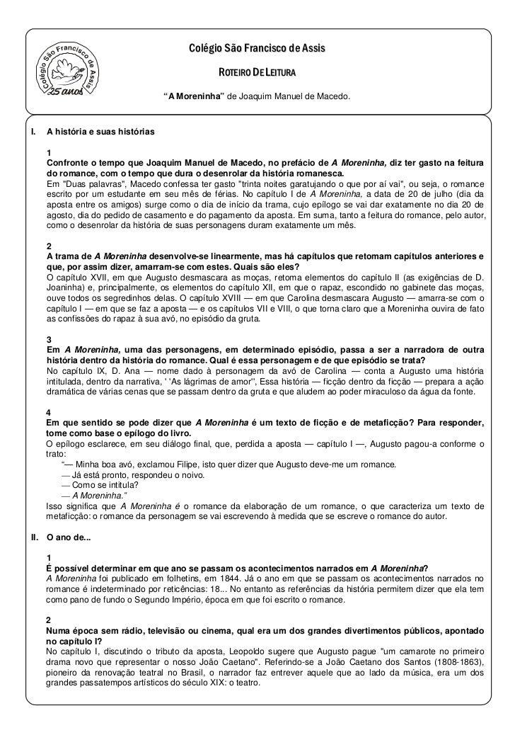 """""""A Moreninha"""" de Joaquim Manuel de Macedo.I.   A história e suas histórias     1     Confronte o tempo que Joaquim Manuel ..."""
