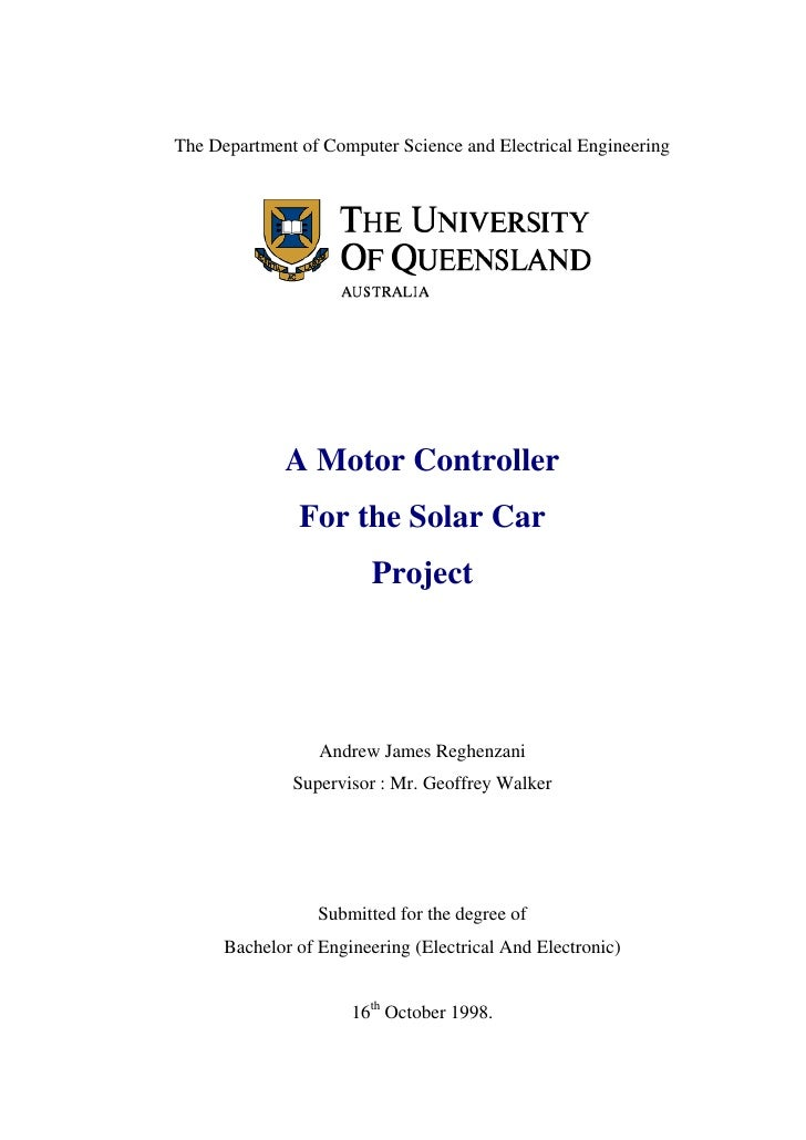 The Department of Computer Science and Electrical Engineering             A Motor Controller               For the Solar C...
