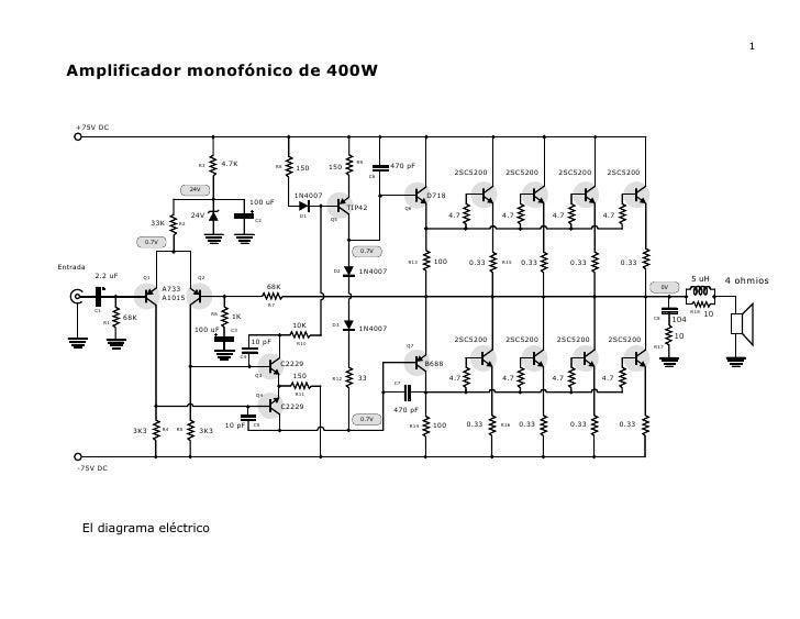Amplificador monofónico de 400 watts