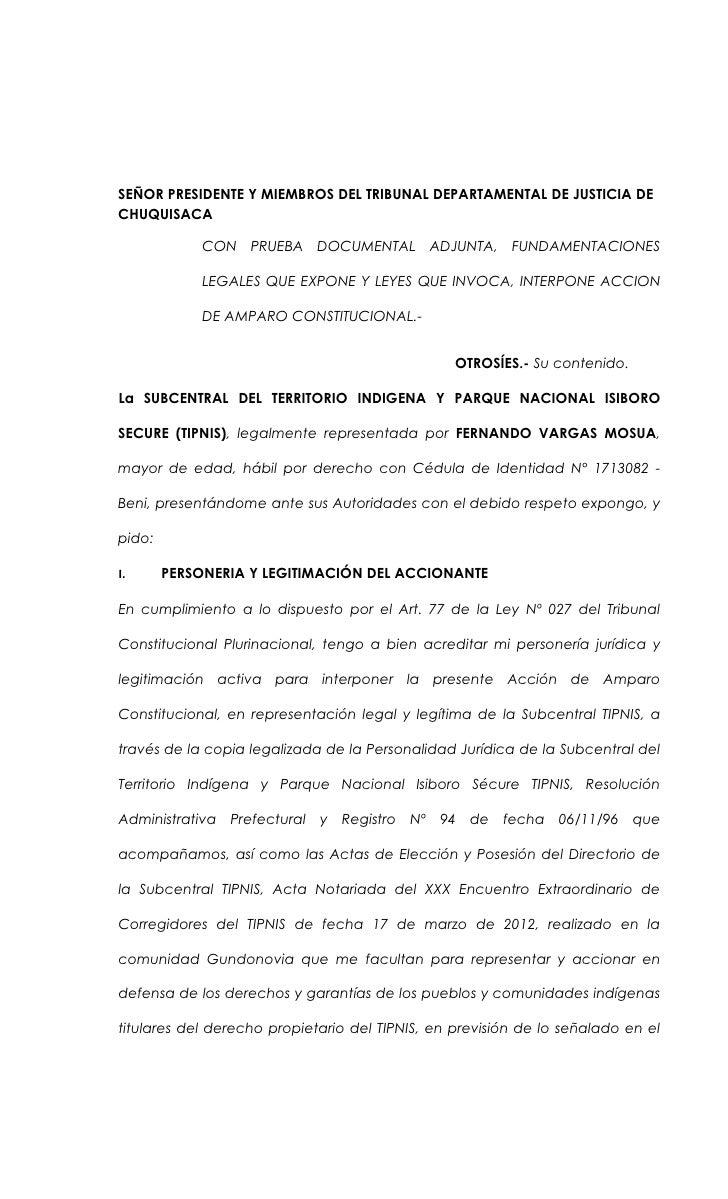 SEÑOR PRESIDENTE Y MIEMBROS DEL TRIBUNAL DEPARTAMENTAL DE JUSTICIA DECHUQUISACA             CON PRUEBA DOCUMENTAL ADJUNTA,...