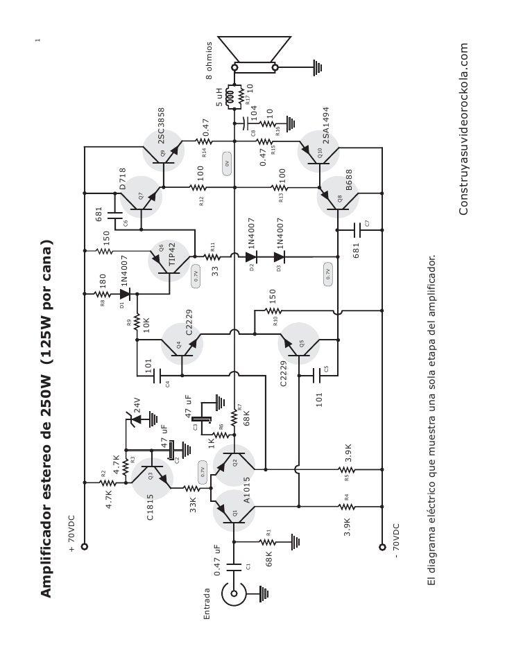 Amplificador estereo 250 watts