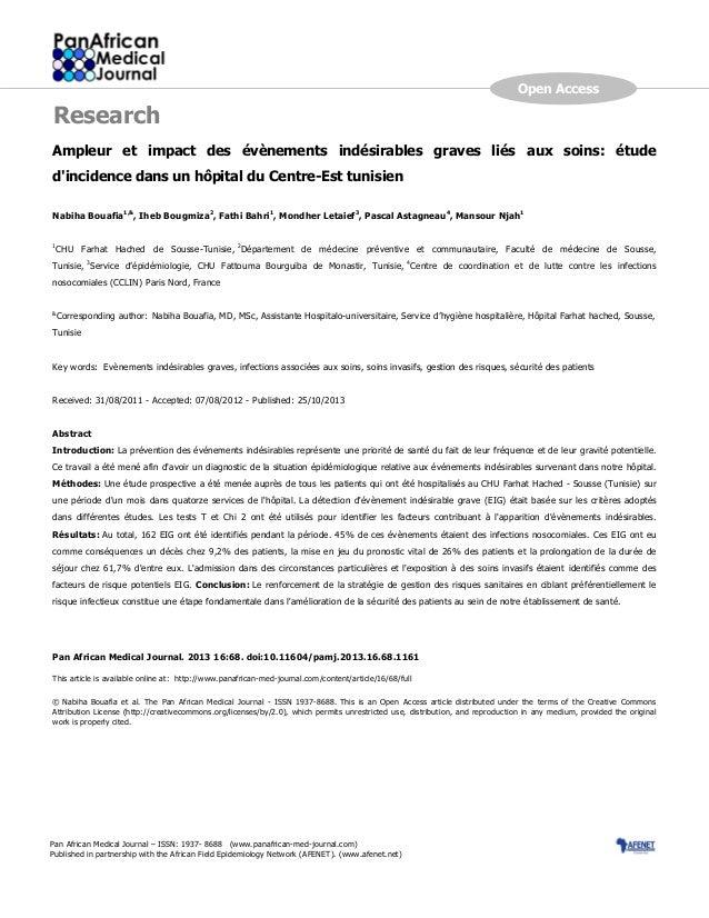 Page number not for citation purposes 1 Ampleur et impact des évènements indésirables graves liés aux soins: étude d'incid...