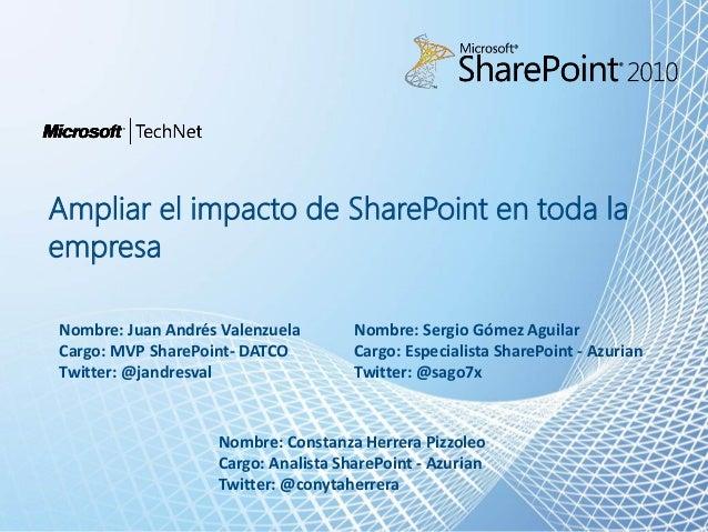 Ampliar el impacto deSharePoint en toda la empresa